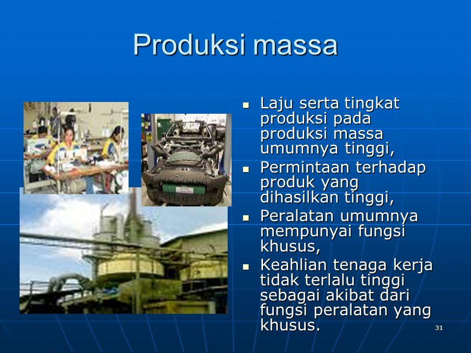 31 Produksi massa Laju serta tingkat produksi pada produksi massa umumnya tinggi, Laju serta tingkat produksi pada produksi massa umumnya tinggi, Perm