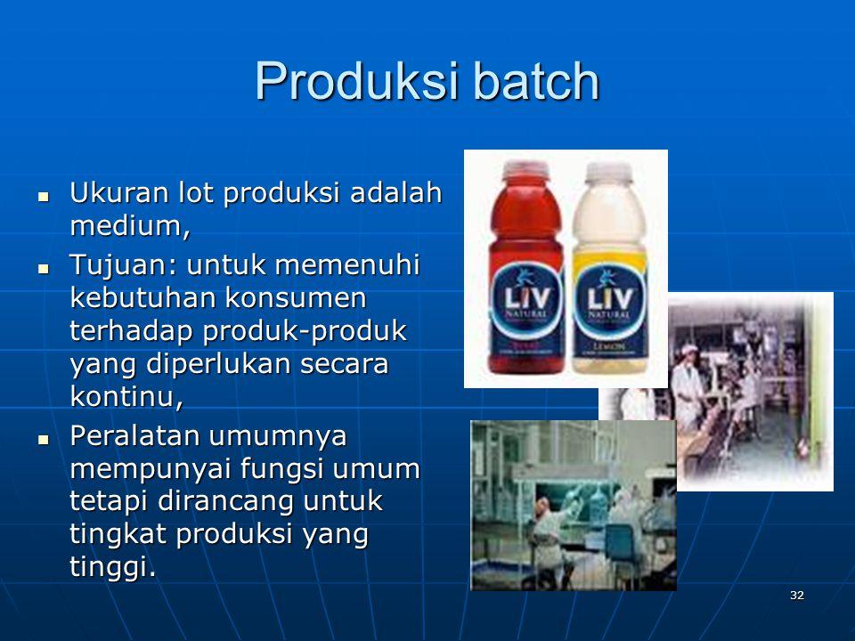 32 Produksi batch Ukuran lot produksi adalah medium, Ukuran lot produksi adalah medium, Tujuan: untuk memenuhi kebutuhan konsumen terhadap produk-prod