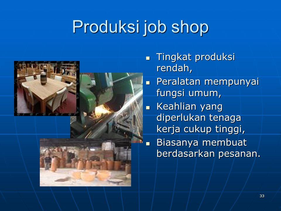 33 Produksi job shop Tingkat produksi rendah, Tingkat produksi rendah, Peralatan mempunyai fungsi umum, Peralatan mempunyai fungsi umum, Keahlian yang