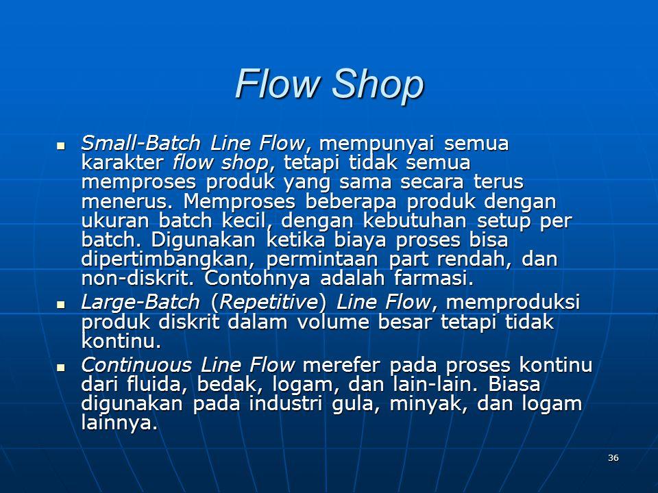 36 Small-Batch Line Flow, mempunyai semua karakter flow shop, tetapi tidak semua memproses produk yang sama secara terus menerus. Memproses beberapa p
