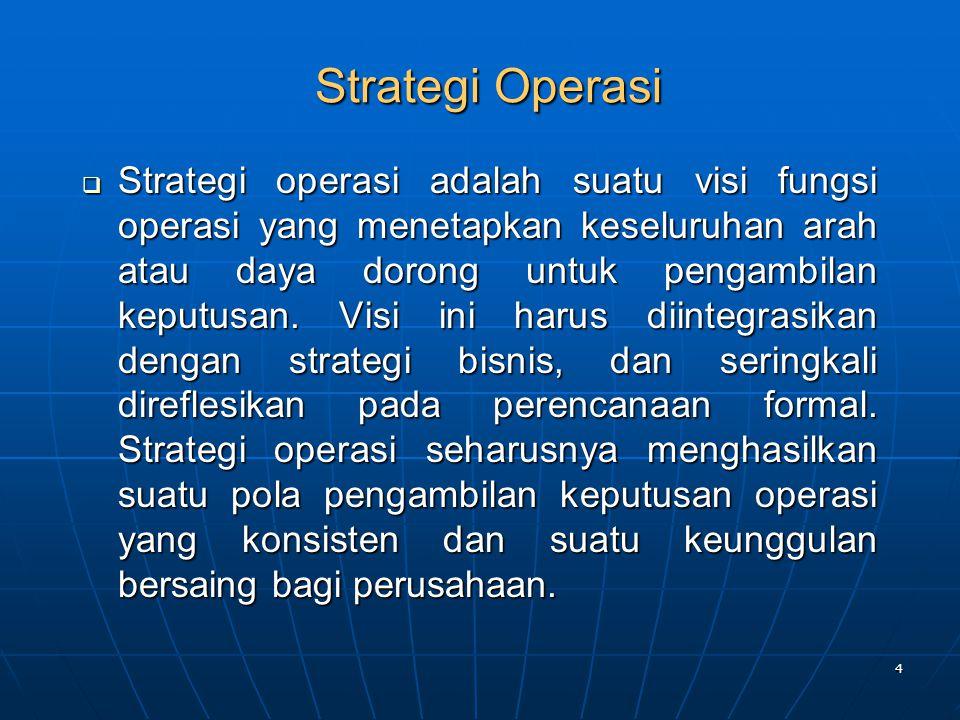 4 Strategi Operasi  Strategi operasi adalah suatu visi fungsi operasi yang menetapkan keseluruhan arah atau daya dorong untuk pengambilan keputusan.