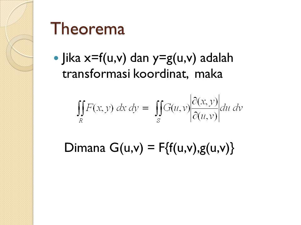 Theorema Jika x=f(u,v) dan y=g(u,v) adalah transformasi koordinat, maka Dimana G(u,v) = F{f(u,v),g(u,v)}