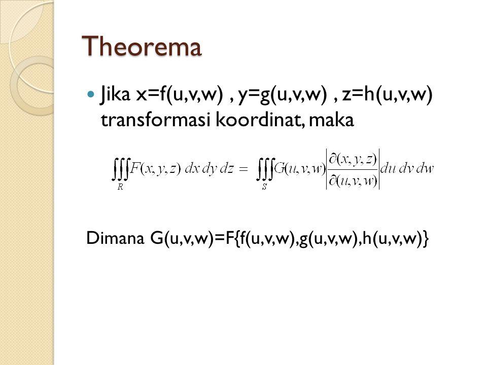 Theorema Jika x=f(u,v,w), y=g(u,v,w), z=h(u,v,w) transformasi koordinat, maka Dimana G(u,v,w)=F{f(u,v,w),g(u,v,w),h(u,v,w)}