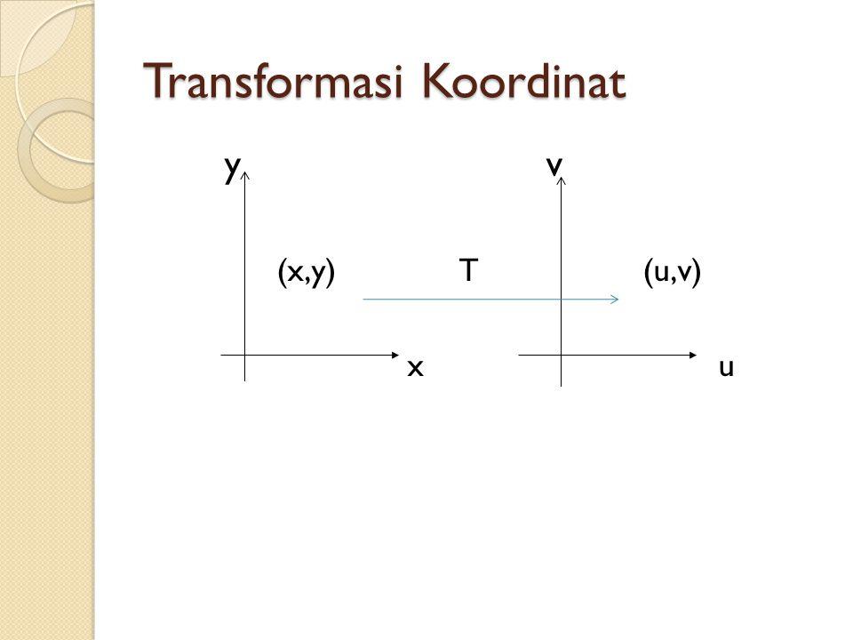 Contoh T suatu transformasi koordinat yang didefinisikansbb: u=x+2y, v=x-2y.