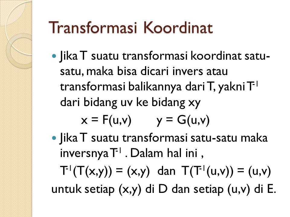 Transformasi Koordinat Jika T suatu transformasi koordinat satu- satu, maka bisa dicari invers atau transformasi balikannya dari T, yakni T -1 dari bi