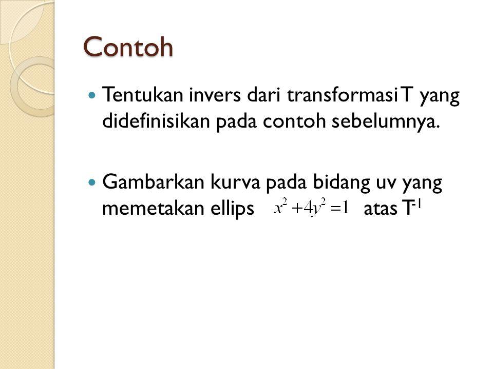 Contoh Tentukan invers dari transformasi T yang didefinisikan pada contoh sebelumnya. Gambarkan kurva pada bidang uv yang memetakan ellips atas T -1