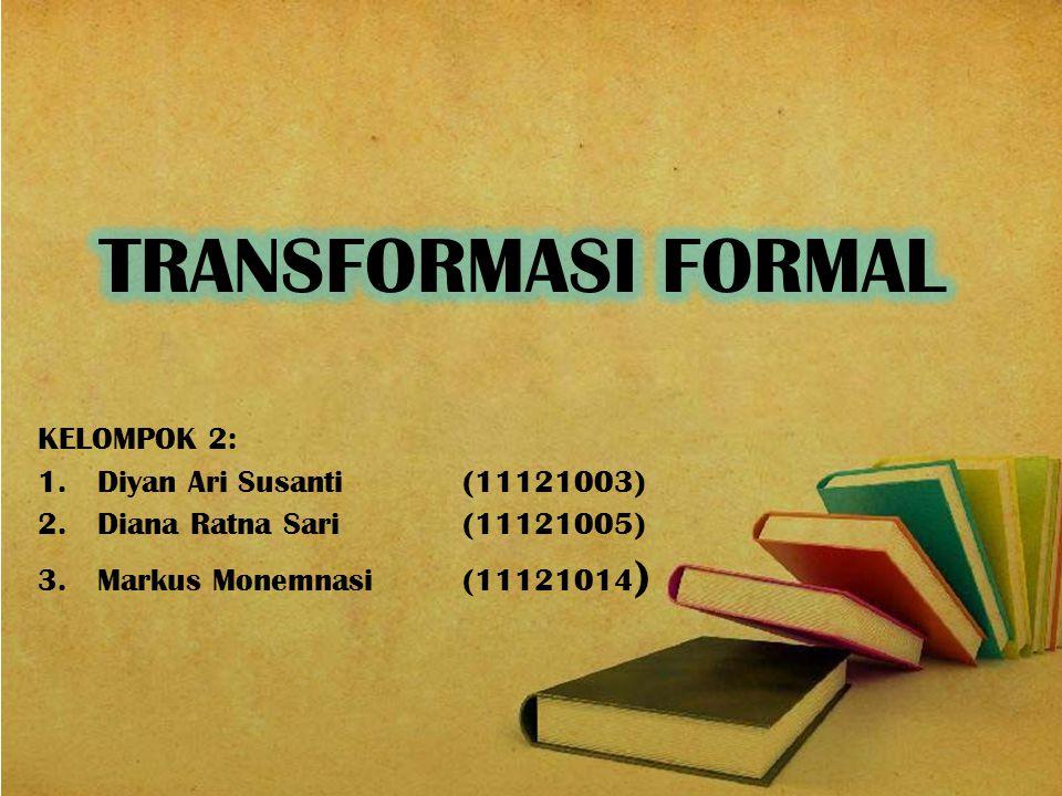PENGERTIAN TRANSFORMASI FORMAL PENGERTIAN TRANSFORMASI FORMAL BAGAN PENDEKATAN CLEANROOM BAGAN PENDEKATAN CLEANROOM KELEMAHAN & KEUNTUNGAN PENDEKATAN CLEANROOM KELEMAHAN & KEUNTUNGAN PENDEKATAN CLEANROOM Pengembangan Metode Formal Pengembangan Metode Formal PEMBAHASAN DAFTAR PUSTAKA