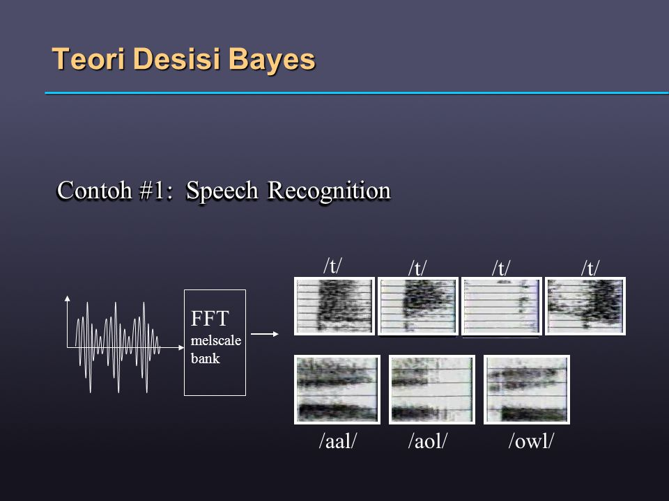Teori Desisi Bayes Contoh #1: Speech Recognition FFT melscale bank /t/ /aal//aol//owl/