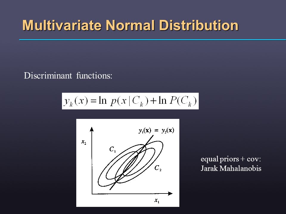 Multivariate Normal Distribution Discriminant functions: equal priors + cov: Jarak Mahalanobis