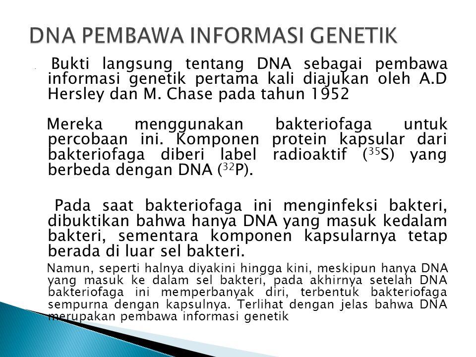 . Bukti langsung tentang DNA sebagai pembawa informasi genetik pertama kali diajukan oleh A.D Hersley dan M. Chase pada tahun 1952 Mereka menggunakan