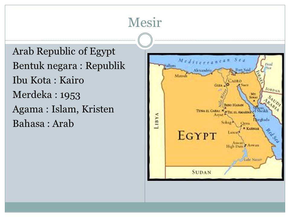 Mesir Arab Republic of Egypt Bentuk negara : Republik Ibu Kota : Kairo Merdeka : 1953 Agama : Islam, Kristen Bahasa : Arab