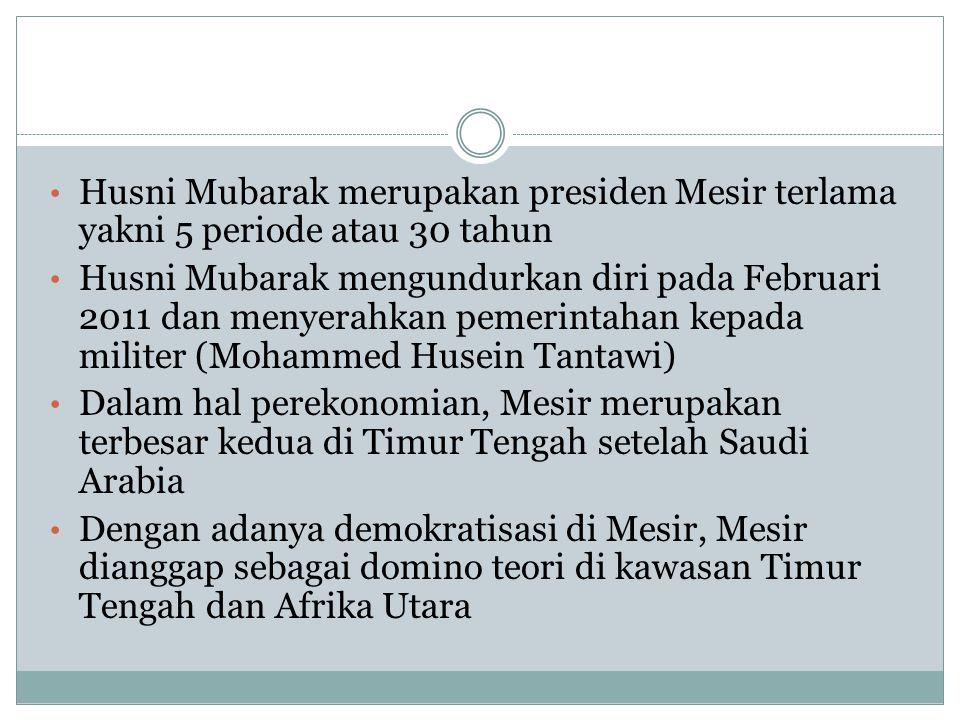 Husni Mubarak merupakan presiden Mesir terlama yakni 5 periode atau 30 tahun Husni Mubarak mengundurkan diri pada Februari 2011 dan menyerahkan pemeri