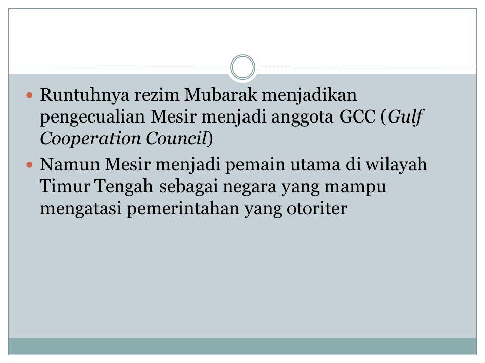 Runtuhnya rezim Mubarak menjadikan pengecualian Mesir menjadi anggota GCC (Gulf Cooperation Council) Namun Mesir menjadi pemain utama di wilayah Timur
