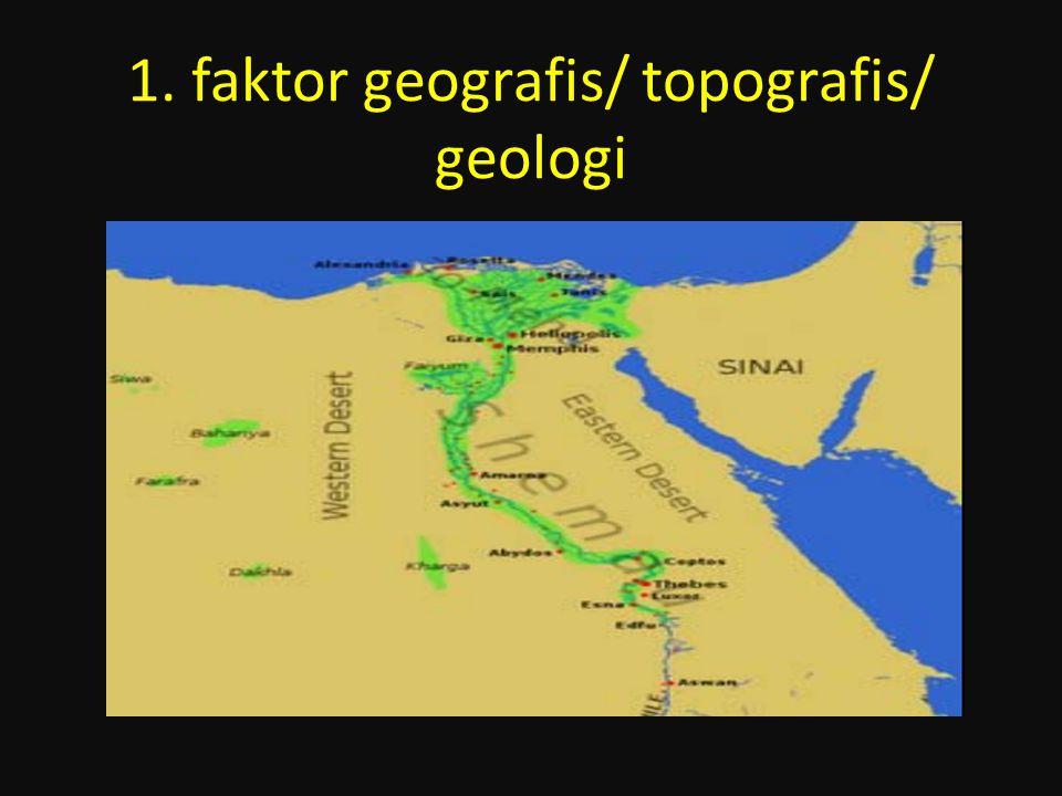 1. faktor geografis/ topografis/ geologi