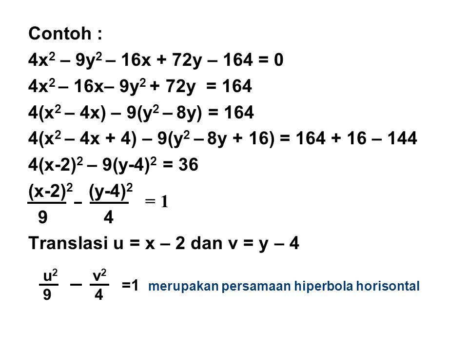 Contoh : 4x 2 – 9y 2 – 16x + 72y – 164 = 0 4x 2 – 16x– 9y 2 + 72y = 164 4(x 2 – 4x) – 9(y 2 – 8y) = 164 4(x 2 – 4x + 4) – 9(y 2 – 8y + 16) = 164 + 16