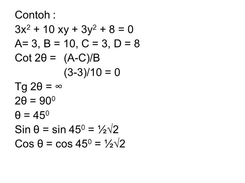 Contoh : 3x 2 + 10 xy + 3y 2 + 8 = 0 A= 3, B = 10, C = 3, D = 8 Cot 2θ =(A-C)/B (3-3)/10 = 0 Tg 2θ = ∞ 2θ = 90 0 θ = 45 0 Sin θ = sin 45 0 = ½√2 Cos θ