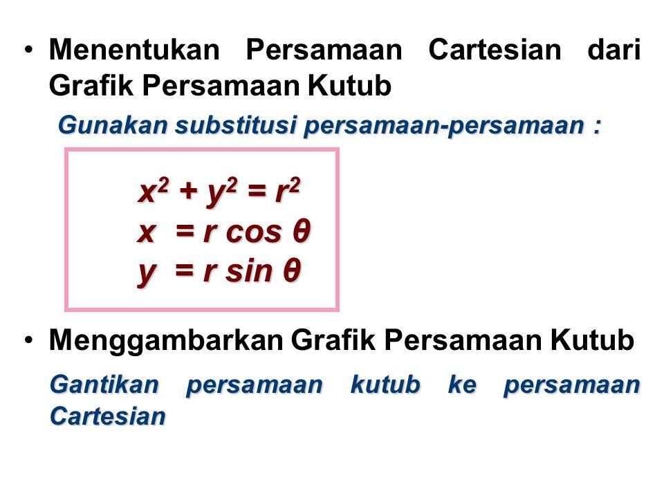 Menentukan Persamaan Cartesian dari Grafik Persamaan Kutub Gunakan substitusi persamaan-persamaan : Menggambarkan Grafik Persamaan Kutub Gantikan pers