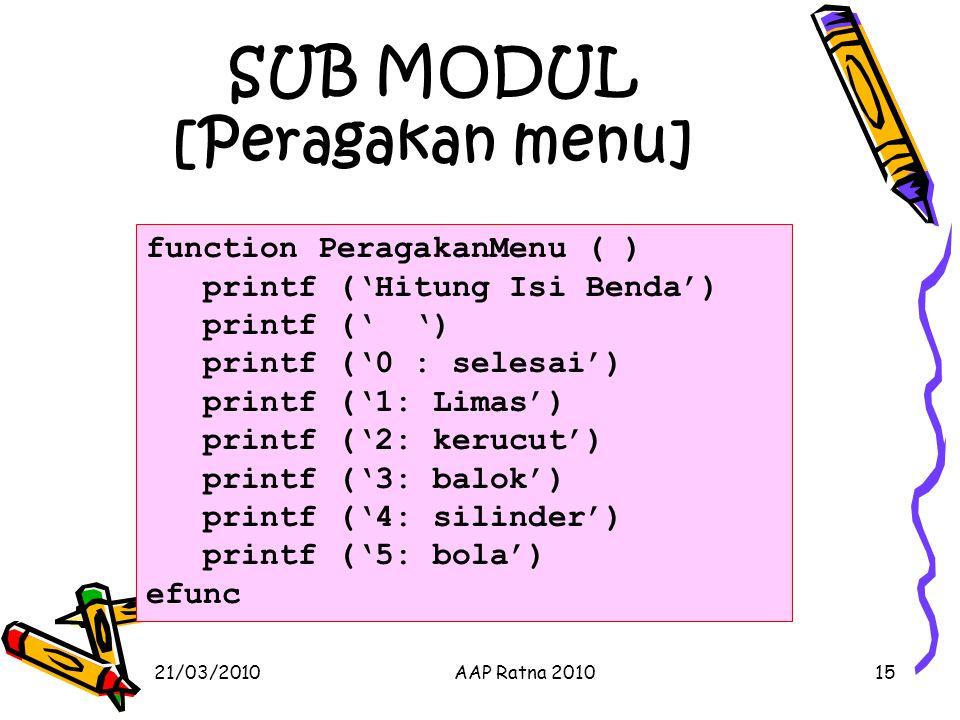 SUB MODUL [Peragakan menu] 21/03/2010AAP Ratna 201015 function PeragakanMenu ( ) printf ('Hitung Isi Benda') printf (' ') printf ('0 : selesai') print
