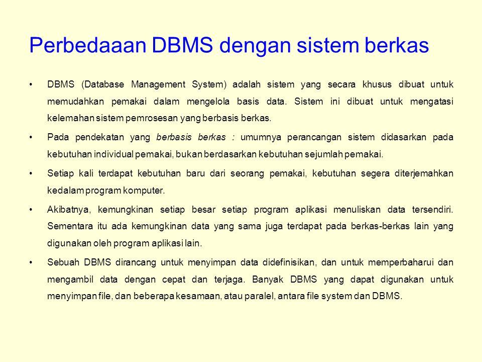 Perbedaaan DBMS dengan sistem berkas DBMS (Database Management System) adalah sistem yang secara khusus dibuat untuk memudahkan pemakai dalam mengelol