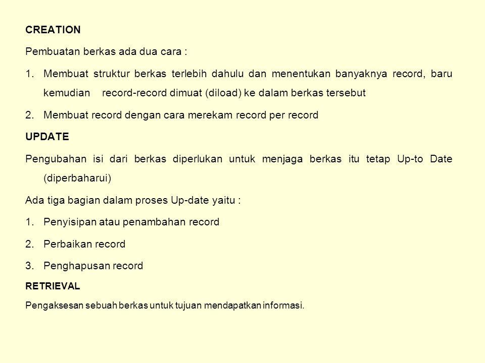 Menurut ada tidaknya persyaratan retrieval dibagi menjadi dua yaitu : 1.Comprehensive Retrieval Proses untuk mendapatkan informasi dari semua record dalam berkas 2.Selective Retrieval Mendapatkan informasi dari record-record tertentu berdasarkan persyaratan tertentu.