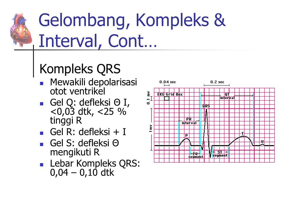 Gelombang, Kompleks & Interval, Cont… Kompleks QRS Mewakili depolarisasi otot ventrikel Gel Q: defleksi Θ I, <0,03 dtk, <25 % tinggi R Gel R: defleksi
