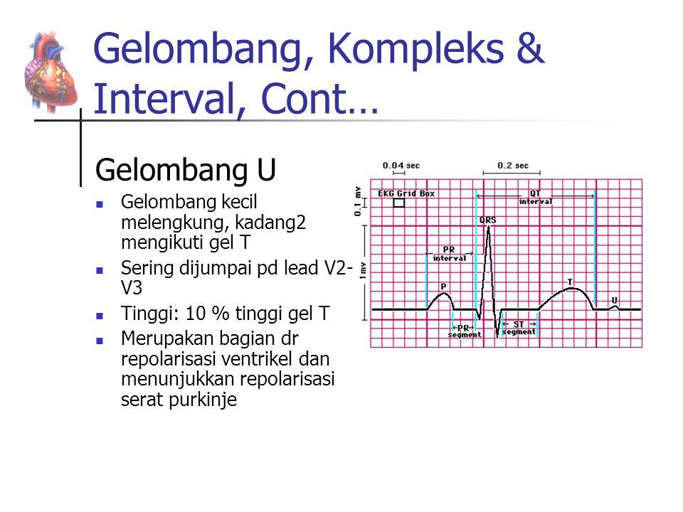 Gelombang, Kompleks & Interval, Cont… Gelombang U Gelombang kecil melengkung, kadang2 mengikuti gel T Sering dijumpai pd lead V2- V3 Tinggi: 10 % ting
