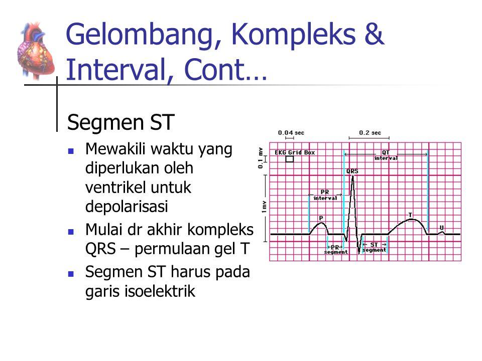 Gelombang, Kompleks & Interval, Cont… Segmen ST Mewakili waktu yang diperlukan oleh ventrikel untuk depolarisasi Mulai dr akhir kompleks QRS – permula