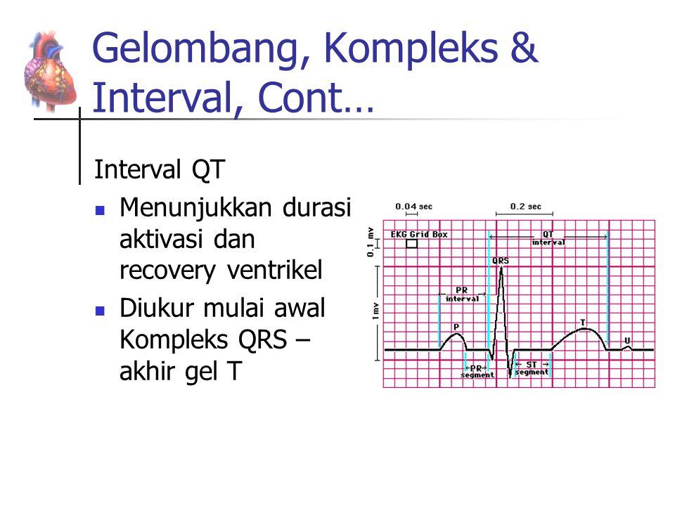 Gelombang, Kompleks & Interval, Cont… Interval QT Menunjukkan durasi aktivasi dan recovery ventrikel Diukur mulai awal Kompleks QRS – akhir gel T