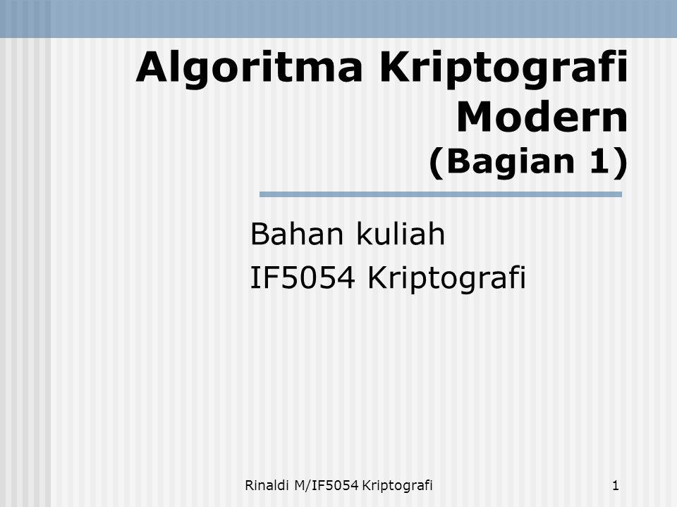 Rinaldi M/IF5054 Kriptografi2 Pendahuluan Beroperasi dalam mode bit (algoritma kriptografi klasik beroperasi dalam mode karakter)  kunci, plainteks, cipherteks, diproses dalam rangkaian bit  operasi bit xor paling banyak digunakan