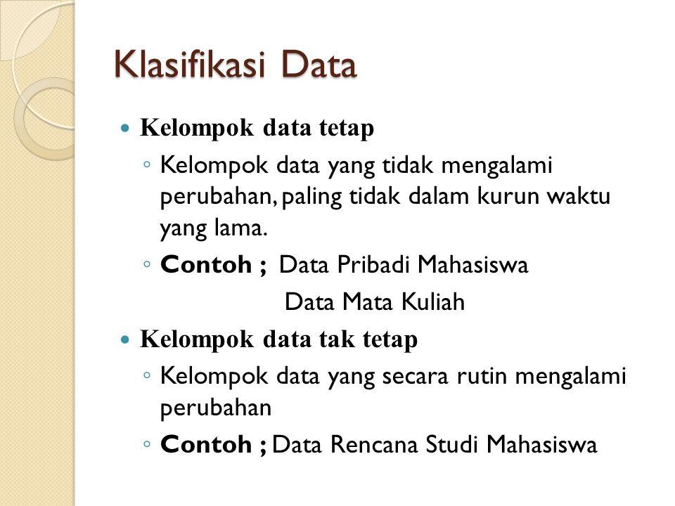 Klasifikasi Data Kelompok data tetap ◦ Kelompok data yang tidak mengalami perubahan, paling tidak dalam kurun waktu yang lama.