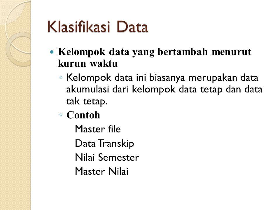 Klasifikasi Data Kelompok data yang bertambah menurut kurun waktu ◦ Kelompok data ini biasanya merupakan data akumulasi dari kelompok data tetap dan data tak tetap.