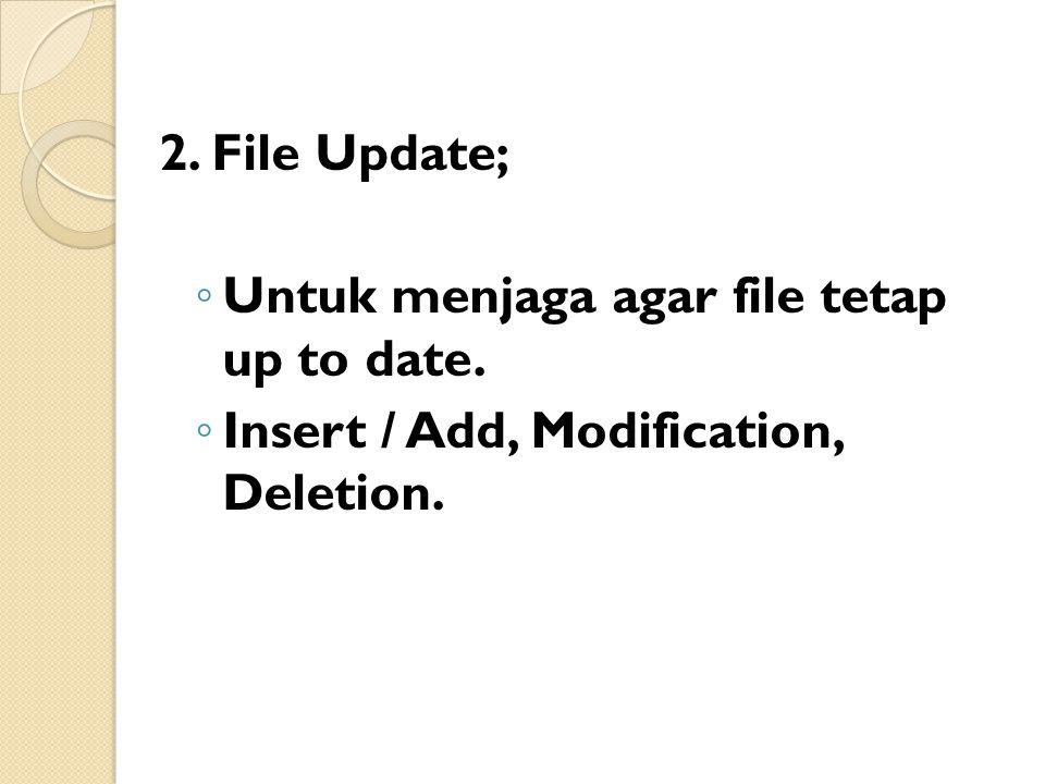 2. File Update; ◦ Untuk menjaga agar file tetap up to date. ◦ Insert / Add, Modification, Deletion.