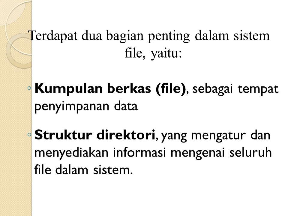 Terdapat dua bagian penting dalam sistem file, yaitu: ◦ Kumpulan berkas (file), sebagai tempat penyimpanan data ◦ Struktur direktori, yang mengatur dan menyediakan informasi mengenai seluruh file dalam sistem.