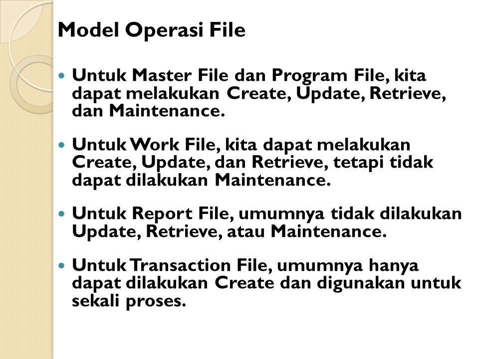 Model Operasi File Untuk Master File dan Program File, kita dapat melakukan Create, Update, Retrieve, dan Maintenance.