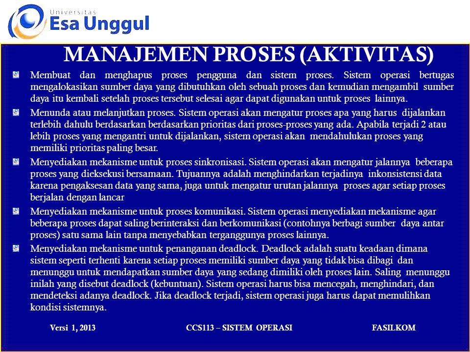 Versi 1, 2013CCS113 – SISTEM OPERASIFASILKOM MANAJEMEN PROSES (AKTIVITAS) Membuat dan menghapus proses pengguna dan sistem proses.