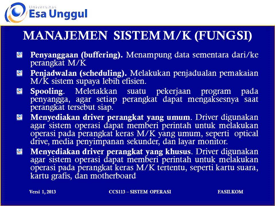 Versi 1, 2013CCS113 – SISTEM OPERASIFASILKOM MANAJEMEN SISTEM M/K (FUNGSI) Penyanggaan (buffering).