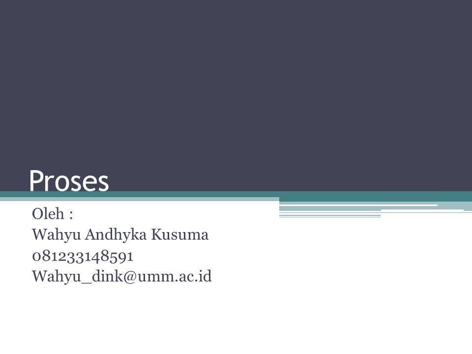 Proses Oleh : Wahyu Andhyka Kusuma 081233148591 Wahyu_dink@umm.ac.id