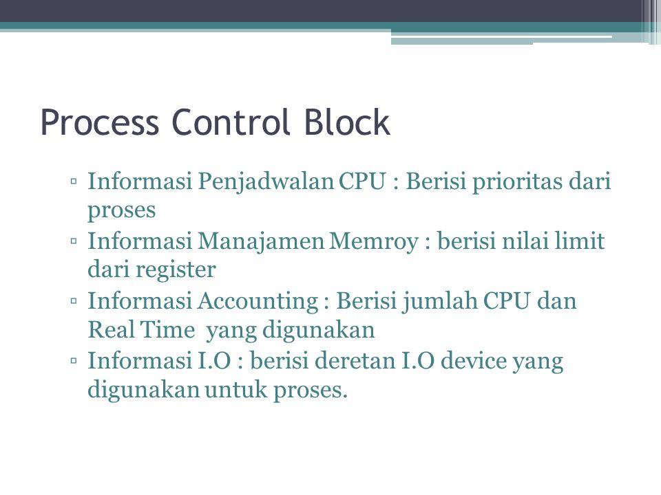 Process Control Block ▫Informasi Penjadwalan CPU : Berisi prioritas dari proses ▫Informasi Manajamen Memroy : berisi nilai limit dari register ▫Informasi Accounting : Berisi jumlah CPU dan Real Time yang digunakan ▫Informasi I.O : berisi deretan I.O device yang digunakan untuk proses.