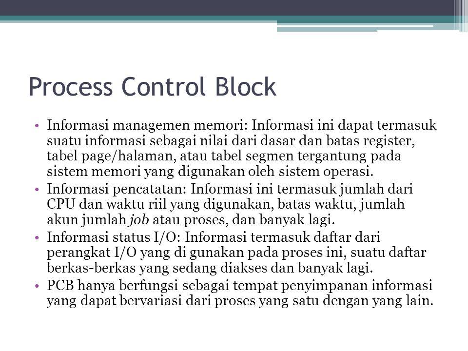 Process Control Block Informasi managemen memori: Informasi ini dapat termasuk suatu informasi sebagai nilai dari dasar dan batas register, tabel page/halaman, atau tabel segmen tergantung pada sistem memori yang digunakan oleh sistem operasi.