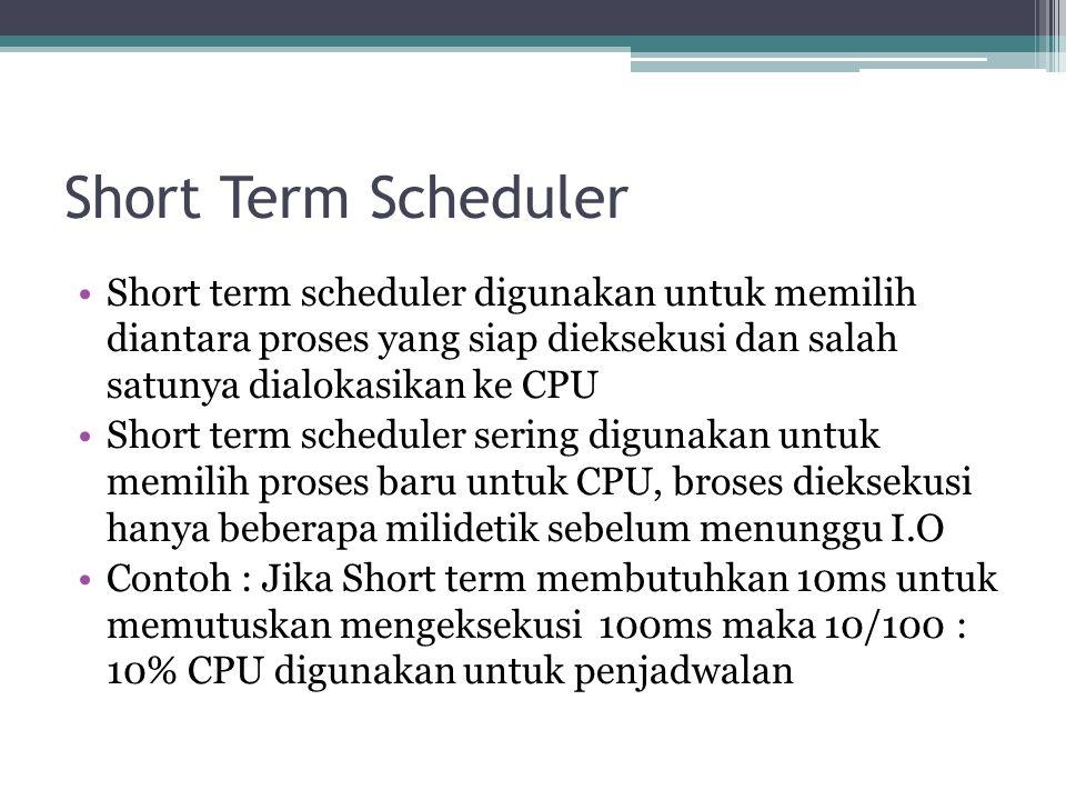 Short Term Scheduler Short term scheduler digunakan untuk memilih diantara proses yang siap dieksekusi dan salah satunya dialokasikan ke CPU Short term scheduler sering digunakan untuk memilih proses baru untuk CPU, broses dieksekusi hanya beberapa milidetik sebelum menunggu I.O Contoh : Jika Short term membutuhkan 10ms untuk memutuskan mengeksekusi 100ms maka 10/100 : 10% CPU digunakan untuk penjadwalan