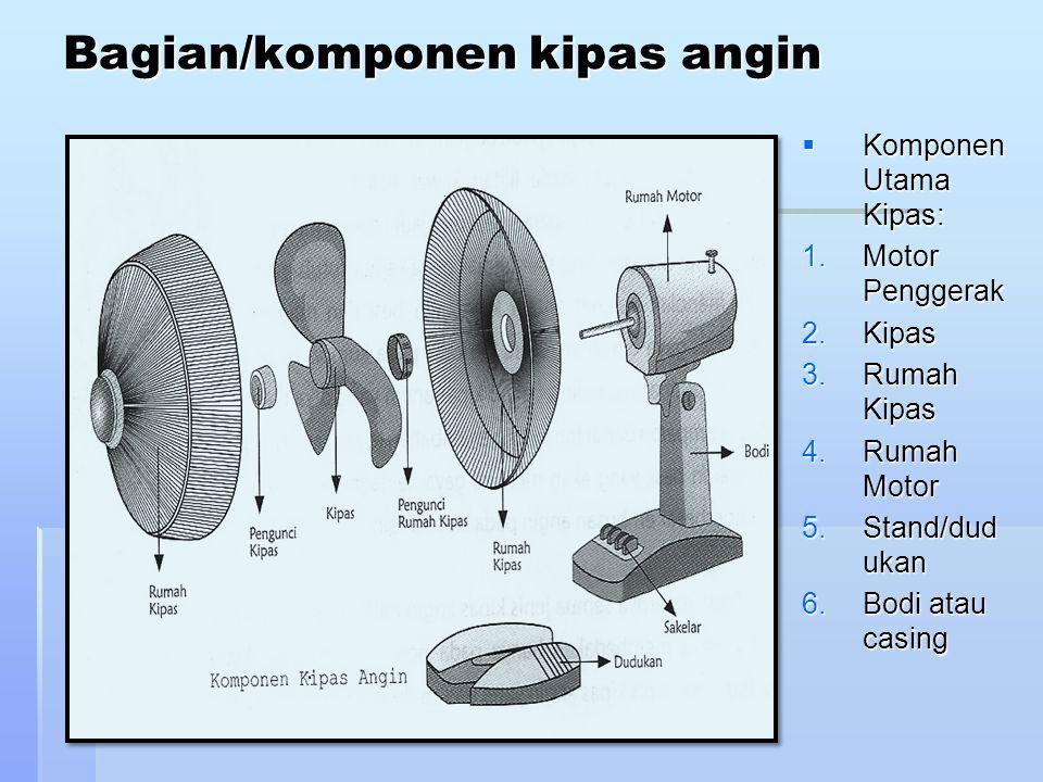 Bagian/komponen kipas angin  Komponen Utama Kipas: 1.Motor Penggerak 2.Kipas 3.Rumah Kipas 4.Rumah Motor 5.Stand/dud ukan 6.Bodi atau casing