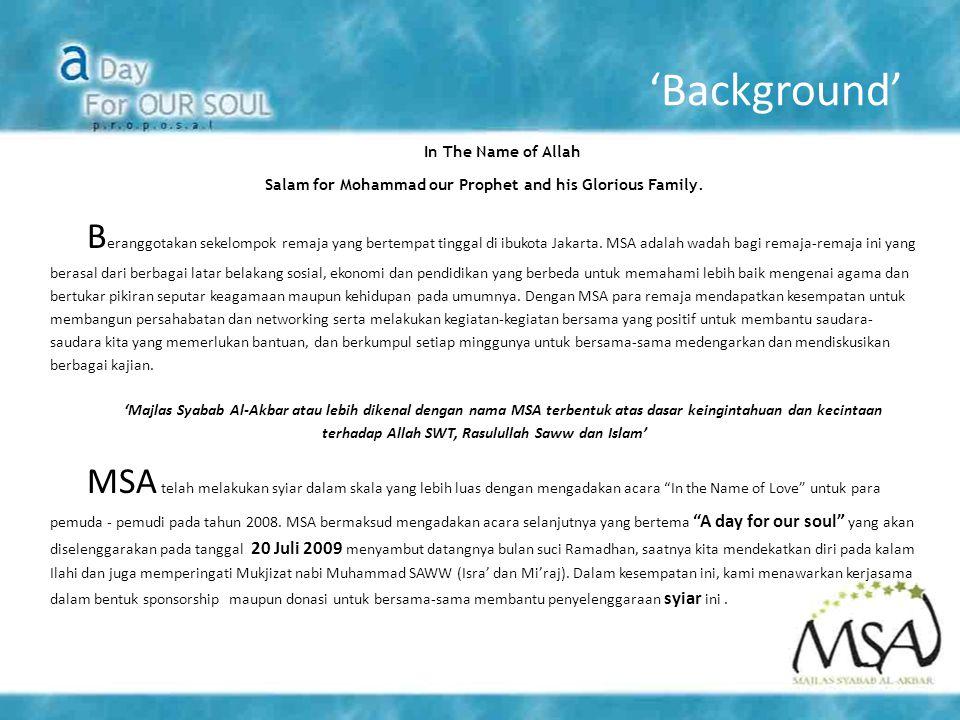 'Misi' 'A Ticket to Heaven bertujuan untuk:  Menguatkan kembali fondasi keimanan kita terhadap Rasulullah SAW dan agama Islam.
