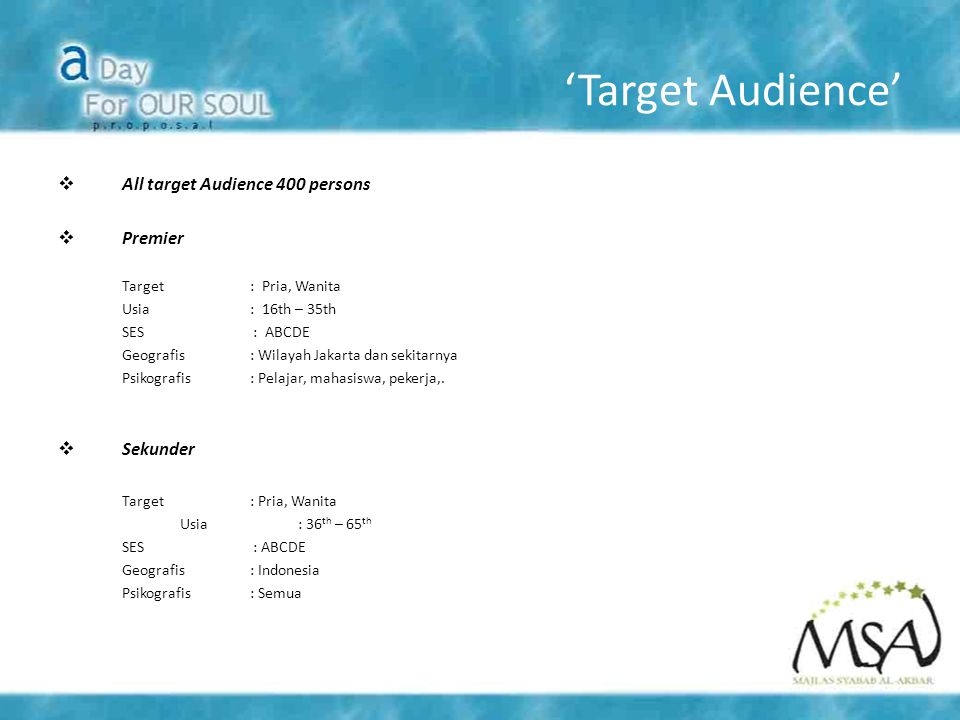 'Target Audience'  All target Audience 400 persons  Premier Target: Pria, Wanita Usia: 16th – 35th SES : ABCDE Geografis: Wilayah Jakarta dan sekitarnya Psikografis: Pelajar, mahasiswa, pekerja,.