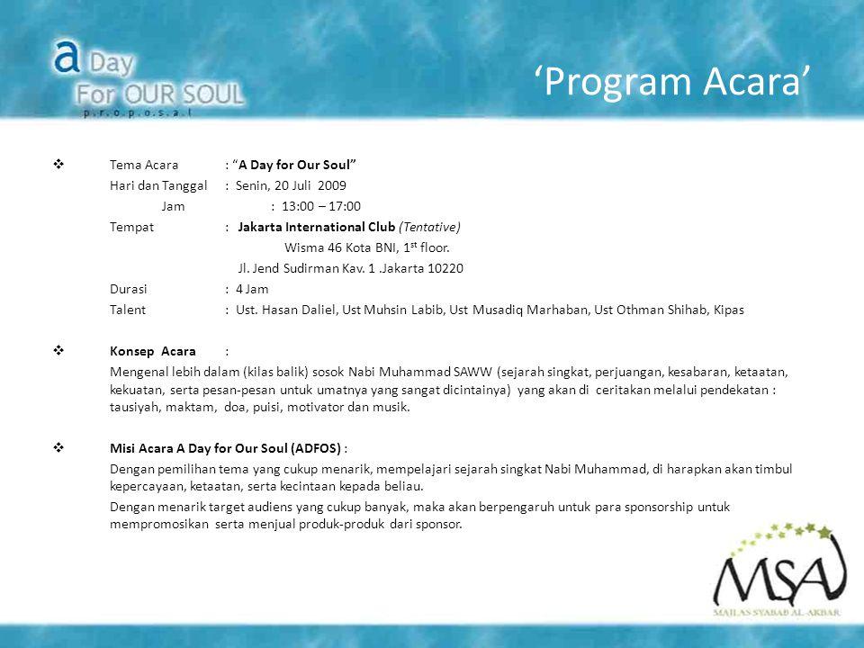 'Program Acara'  Tema Acara : A Day for Our Soul Hari dan Tanggal: Senin, 20 Juli 2009 Jam : 13:00 – 17:00 Tempat: Jakarta International Club (Tentative) Wisma 46 Kota BNI, 1 st floor.