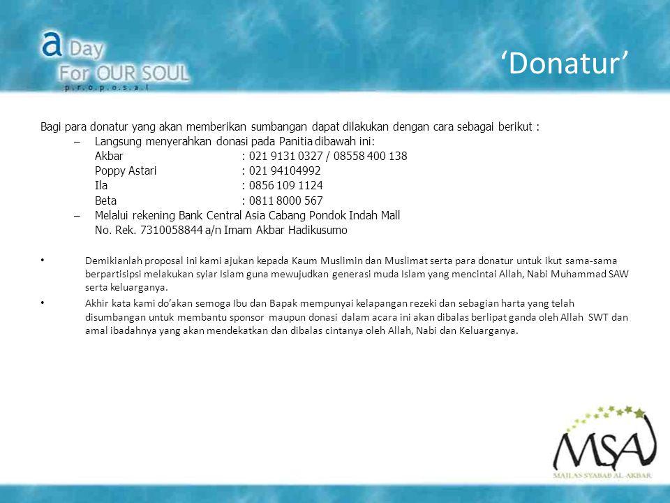 'Donatur' Bagi para donatur yang akan memberikan sumbangan dapat dilakukan dengan cara sebagai berikut : – Langsung menyerahkan donasi pada Panitia di