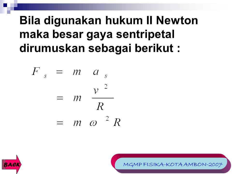 Bila digunakan hukum II Newton maka besar gaya sentripetal dirumuskan sebagai berikut : BACK MGMP FISIKA-KOTA AMBON-2007