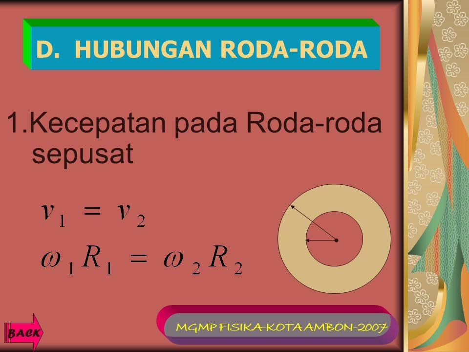 D. HUBUNGAN RODA-RODA 1.Kecepatan pada Roda-roda sepusat BACK MGMP FISIKA-KOTA AMBON-2007