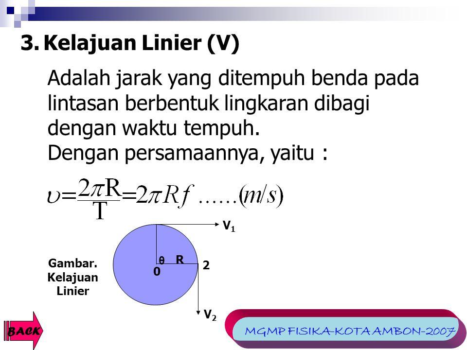 3. Kelajuan Linier (V) V1V1 V2V2 2 θ R 0 Gambar. Kelajuan Linier BACK Adalah jarak yang ditempuh benda pada lintasan berbentuk lingkaran dibagi dengan