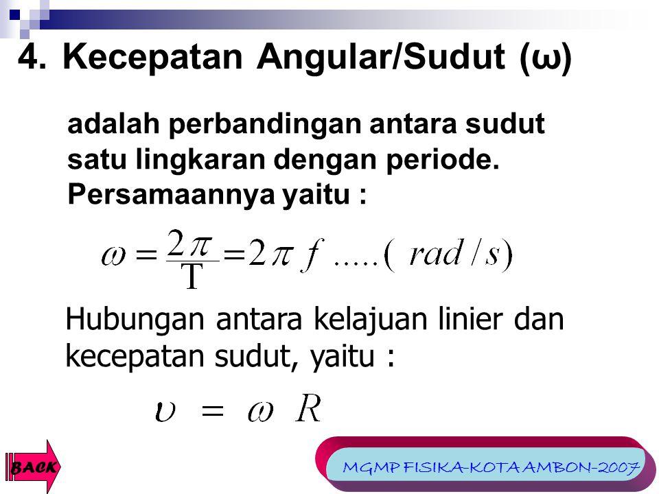 4.Kecepatan Angular/Sudut (ω) Hubungan antara kelajuan linier dan kecepatan sudut, yaitu : BACK adalah perbandingan antara sudut satu lingkaran dengan