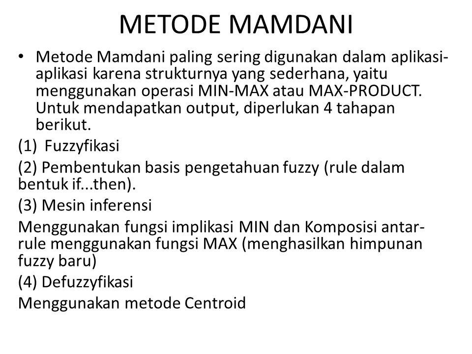 METODE MAMDANI Metode Mamdani paling sering digunakan dalam aplikasi- aplikasi karena strukturnya yang sederhana, yaitu menggunakan operasi MIN-MAX atau MAX-PRODUCT.